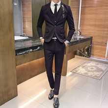 Лидер продаж бренд мужские повседневные Высококачественные однотонные костюмы mael тонкий Лондон Стиль Fit Легкий уход пиджак жилет и Штаны