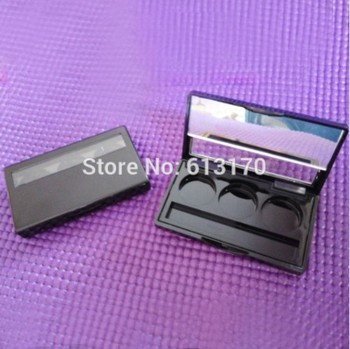 3G Black Eyeshadow Case with Mirror Lid Aluminum Pan Empty Cosmetic Powder Compact DIY Cosmetics Packaging container