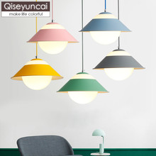 Qiseyuncai Nordic modern minimalist restaurant macaron chandelier creative bar dining room clothing store straw hat lamp