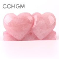2017 Rose Quartz Double Heart Shape Natural Stone Carving Love PINK Crystal Carved Chakra Healing Reiki