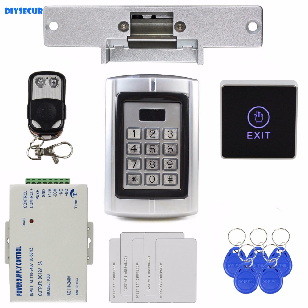 DIYSECUR Touch Button RFID 125KHz ID Card Reader Metal Keypad Door Access Control Security System Kit + Strike Door Lock BC2000 diysecur lcd 125khz rfid keypad password id card reader door access controller 10 free id key tag b100