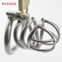 Male Chastity Device With Arc Shaped Cock Ring Stainless Steel Size Penis Bondage Cage