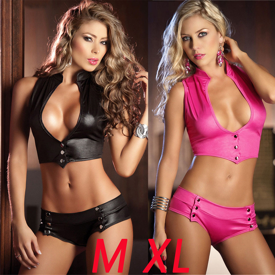 Free Shipping Sexy PU Faux Leather Sentiment Underwear Female Pole Dance Performance Suit Nightclub DS Vestidos Suit Black Pink