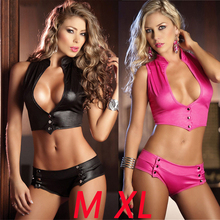 Free Shipping Sexy PU Faux Leather Sentiment Underwear Female Pole Dance Performance Suit Nightclub DS Vestidos Black Pink