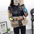 Winter women coat Down cotton parkas Women Embroidery real fur short Down Jacket