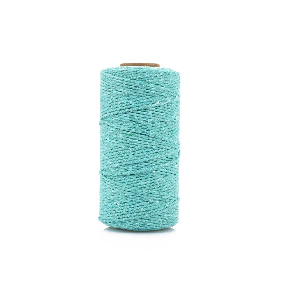 Хлопковое плетение из веревок веревка практичная 100 ярдов подарочная упаковка Artisan String Macrame Artisan Свадебная - Цвет: light blue