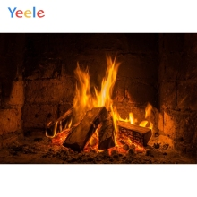 Yeele Fireplace Wood Fire Burning Flame Brick Pattern Portrait Photography Backdrops Photo Backgrounds Photocall Studio