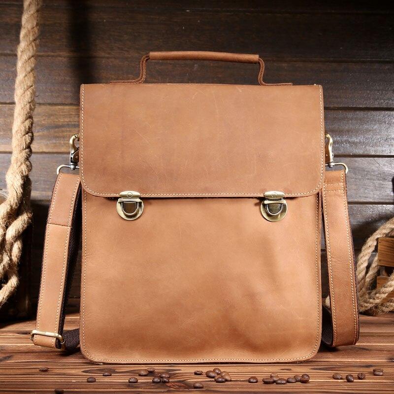 Men Crazy Horse Genuine Leather Briefcase 12 Inch Laptop Messenger Shoulder Bag Vinatage Handmade Tote Crossbody Bag 1088