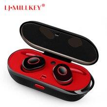 Fone de Ouvido Bluetooth TWS Verdadeiro Fones de Ouvido Sem Fio Bluetooth 4.1 Estéreo Fones De Ouvido com Caixa Carregador Portátil LJ-MILLKEY YZ111
