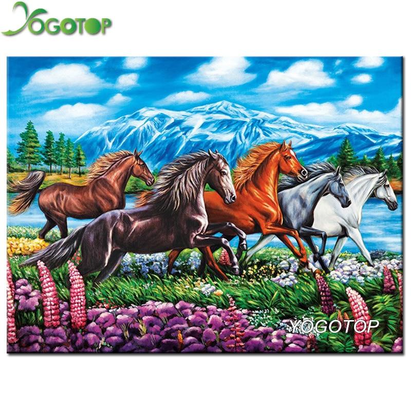 YOGOTOP 5D Diamond Embroidery Steppe horse Diy Diamond Painting Cross Stitch Full Mosaic Crafts Kits Needlework CV005