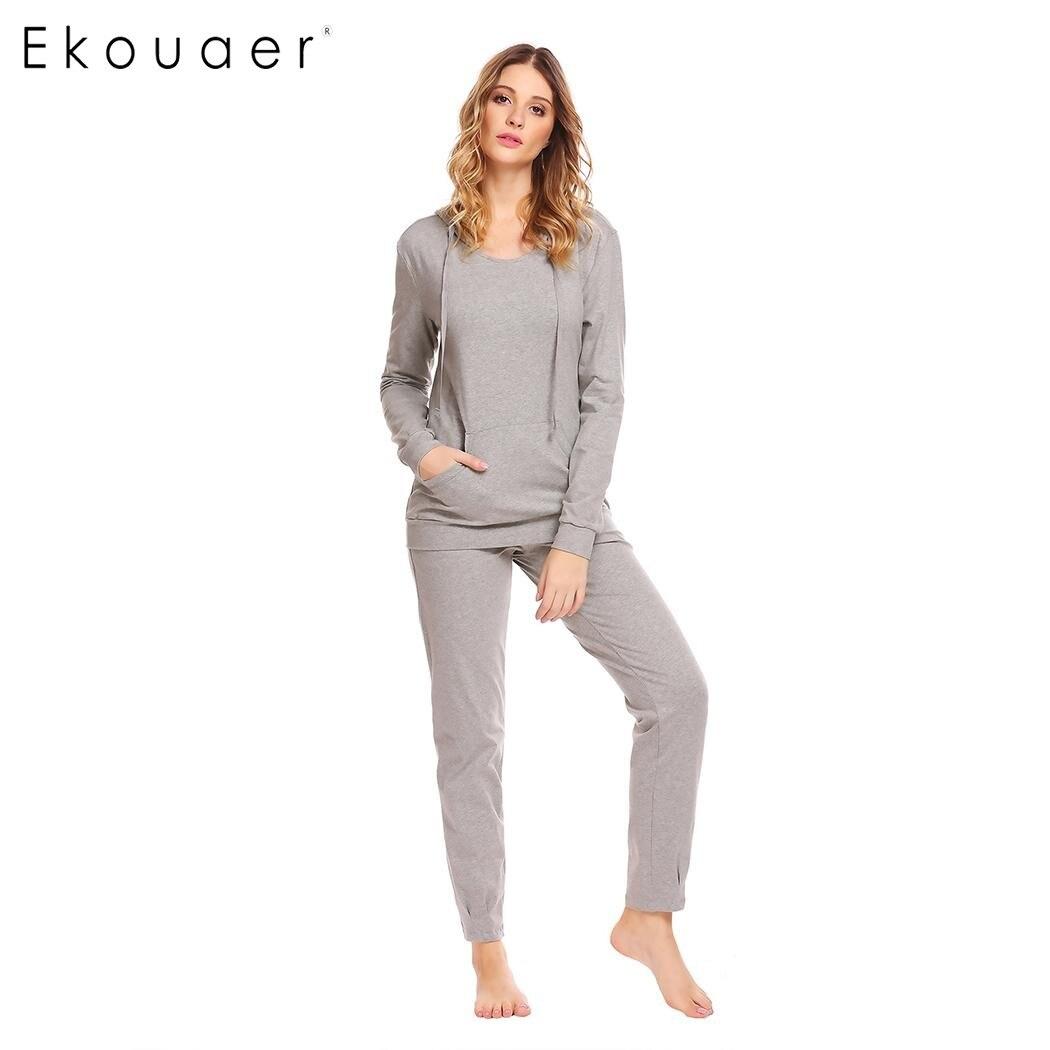 Ekouaer Women Casual Sleepwear Nighties Cotton Hooded Long Sleeve Hoodie and Drawstring Pants   Pajama     Set   Female Home Clothing
