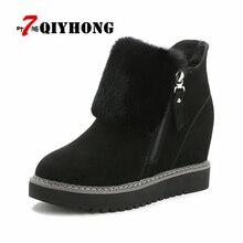 QIYHONG font b Women b font Boots Fashion Winter Snow Warm Boots Platform Wedge Heel Boots