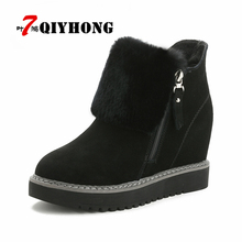 QIYHONG Women Boots Fashion Winter Snow Warm Boots Platform Wedge Heel Boots Women Shoes With Increased Platform Sole Female