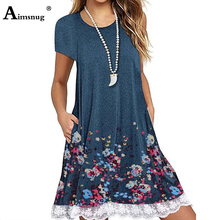 Plus size 4xl 5xl 2019 Lace Splice Summer Boho Flower Print Blue Dress Short Sleeve O-Neck Female Dress Casual Loose Women Dress 2019 new summer dress denim vestidos women plus size xxxl 4xl casual o neck loose short sleeve jeans dress blue kkfy3556