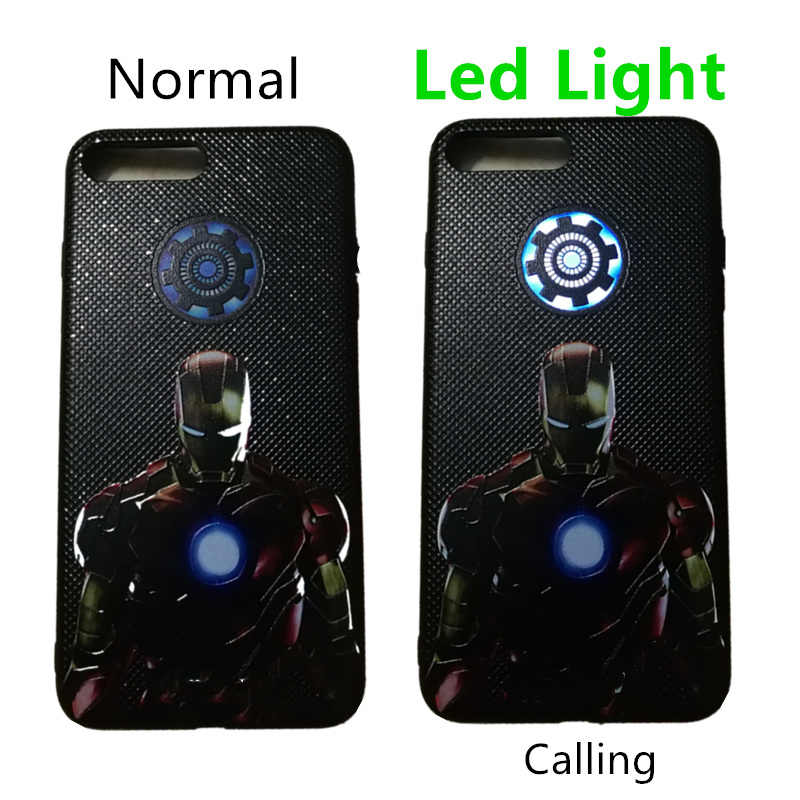 Led Light Lamp Tony Stark Heart Super Heroes Captain USA Thor Iron Man Endgame Phone Cover Case  For iPhone 7 6 6S 8 plus X Gift