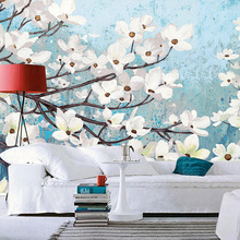 Custom 3d mural Blue hand painted floral wallpaper personalized flowers living room TV background wall wallpaper custom mural