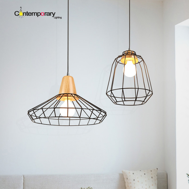 цены Wood and Iron cage lampshade pendant lights simple bar light retro country style vintage bedroom cafe dining room pendant lamps