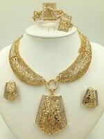 عالية الجودة مبيعات الأسبوع! الجملة الجديدة المجوهرات مجموعات قلادة أقراط مجموعات المجوهرات دبي الأفريقي موضة الذهب اللون