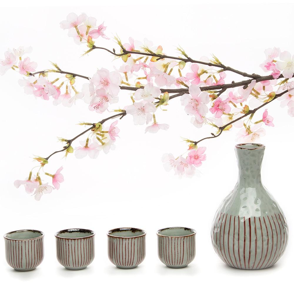 4 чашки для Саке + 1 горшок для саке, керамика, фарфор, набор для вина, ручная роспись, керамика, китайская чайная чашка, чайный горшок, набор ру...