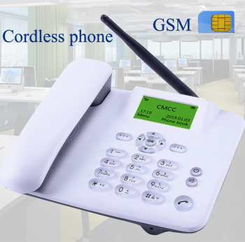 Inalámbrico GSM 900 soporte de 1800 MHz tarjeta SIM teléfono fijo blanco negro teléfono inalámbrico fijo teléfono de oficina empresa