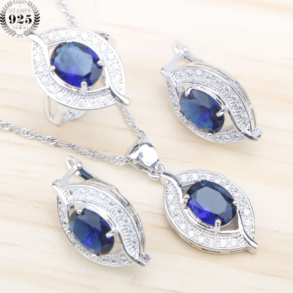 Blue Zircon 925 Sterling Silver Bridal Jewelry Sets Women Earrings With Stones Pendant&Necklace Rings Set jewellery Gift Box