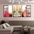 3 Panel Hot Sell Modern Wall Painting Home Decorative Art Picture Paint on Canvas Prints North Korean ancient noblewoman figure