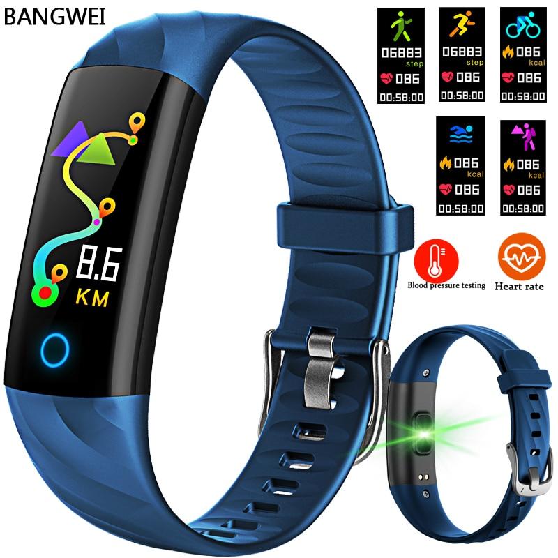BANGWEI font b Smart b font wrist Band Heart rate Blood Pressure Oxygen Oximeter Sport Bracelet