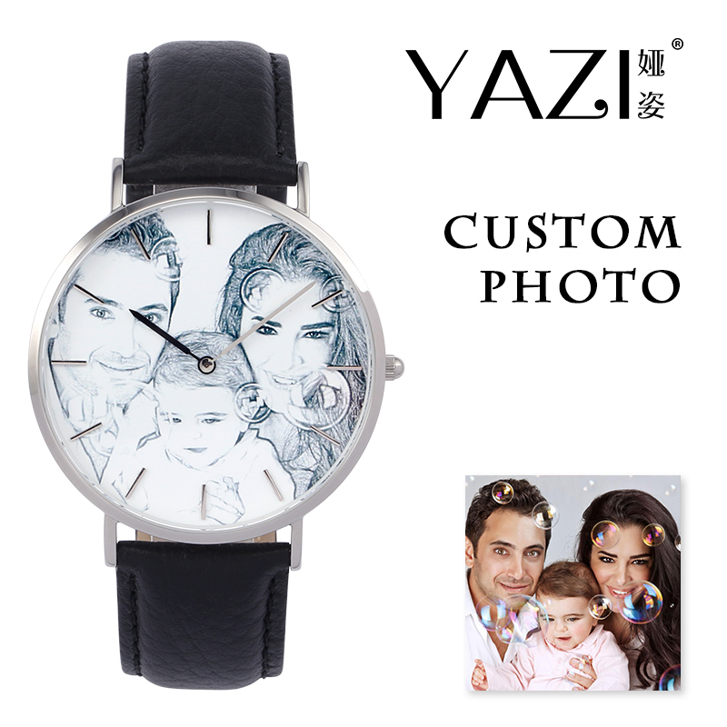 YAZI Unique Custom Watch Photo Printed Dial Picture Print Wrist Watch Litchi Stripe Genuine Leather Waterproof Quartz Watches