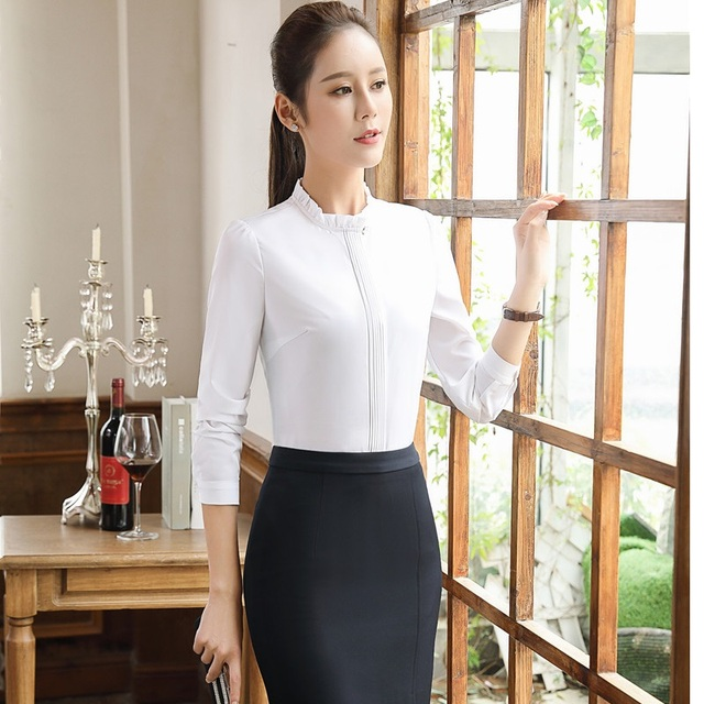 3411da8ffc Novelty White Long Sleeve Formal Skirt Suits Professional Tops And Skirt  Ladies Business Women Blouses Skirts Outfits Plus Size