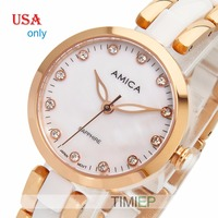 Amica Women's D Ceramics Quartz Sapphire Rose Gold Tone Stainless Steel Wrist Watches USA Only A 1 6