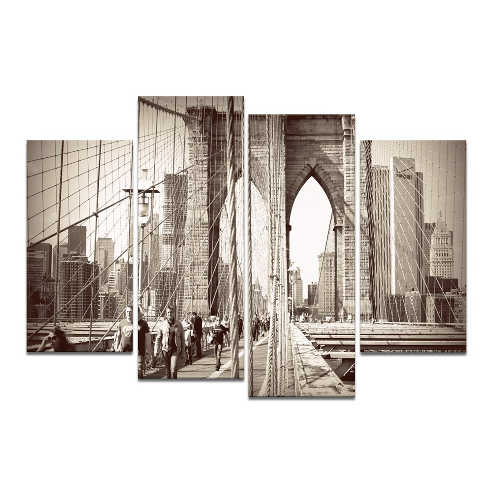 BAMMU Canvas Wall Art 4 Panels Famous Architecture Painting Wall Cityscape New  York Skyline Brooklyn Bridge Giclee Canvas Prints In Painting U0026 Calligraphy  ...