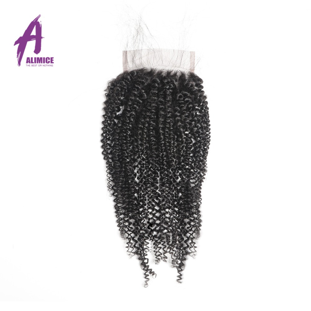 Alimice Brazilian Afro Kinky Curly Weave Human Hair 3 Bundles With Closure Remy Hair Brazillian Hair Weave Bundles With Closure (4)