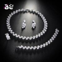 Be 8 Fashion AAA Cubic Zirconia Water drop Women 4pcs Set Jewelry Necklace Earring Bracelet Finger RingParure Bijoux Femme S143