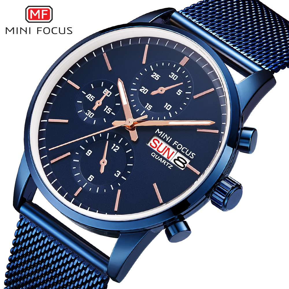 MINI FOCUS relojes hombre 2019 Stainless Steel Strap Quartz Watch Fashion Mens Watches Top Brand Luxury Clock Relogio Masculino in Quartz Watches from Watches
