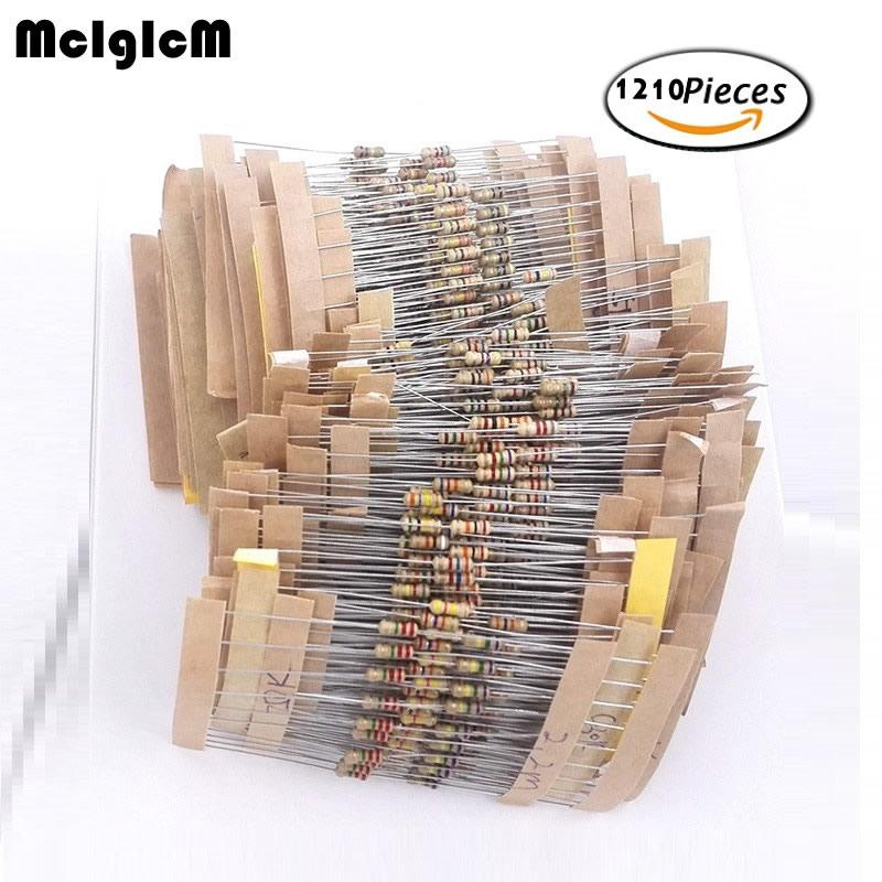 MCIGICM 1/4w Resistors Pack 121 Values X 10pcs = 1210pcs 0.33 - 4.7M 5% Full Range Resistors Assortment Kits Electronic Diy Kit