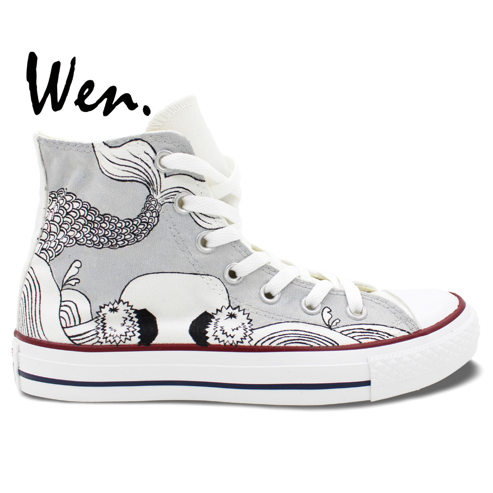 Wen Original Hand Painted Shoes Design Custom Fish Totem Men Women's Grey High Top Canvas Sneakers for Gifts wen mexican style skulls totem original design hand painted shoes for men woman slip ons custom canvas sneakers