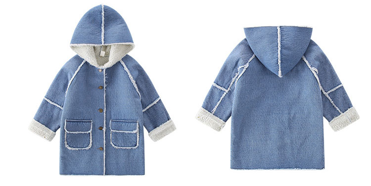 long thick denim trench coats for teenage girls long fleece hooded jeans jackets kids tops clothing children winter outerwears (9)