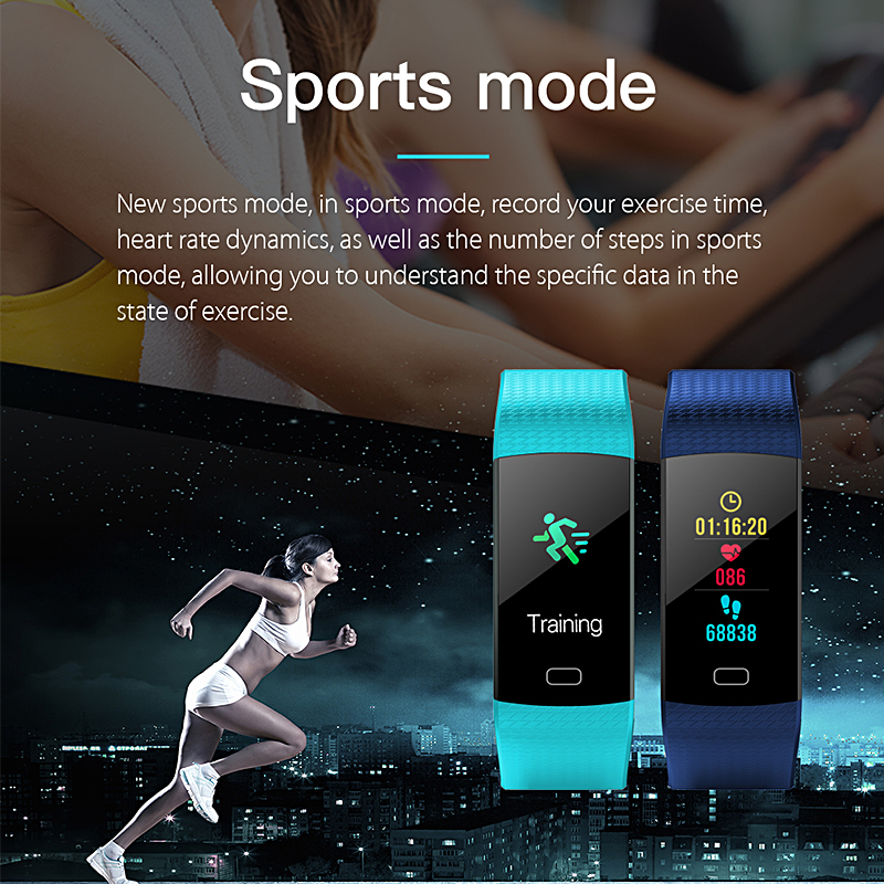 Sport Fitness Bracelet Smart Wristbands Heart Rate Monitor Blood Pressure Tracker Digital Smart Watch Color Touch Screen