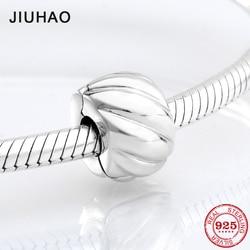 New 925 Sterling Silver round wave shape clips Lock beads Fit Original Pandora Charm Bracelet Jewelry making