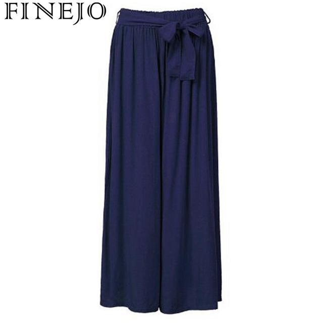 FINEJO Women Pants Autumn 2018 Slim Fit Full Loose Casual Wide Leg Long Waist Solid
