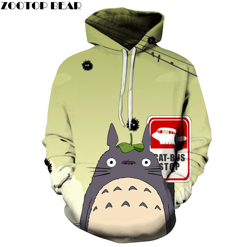 Totoro Hoodies 3D Unisex Hoodies Men Sweatshirts Brand Hoodies Drop Ship Spring Autumn Pullover Fashion Tracksuits ZOOTOP BEAR