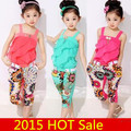 Retail Children clothing set New girls tank top with metallic bowknot+floral print trousers kids girls summer suit set