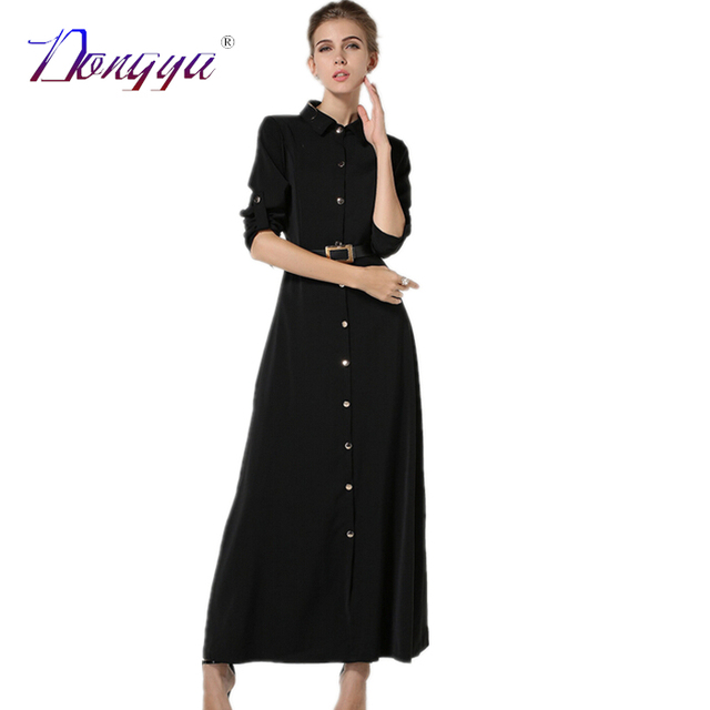 019c670350 2016 New Fashion Winter Turn-down Collar Color Sashes Black Formal Work  Dresses Women Long Sleeve Maxi Office Dress Shirt