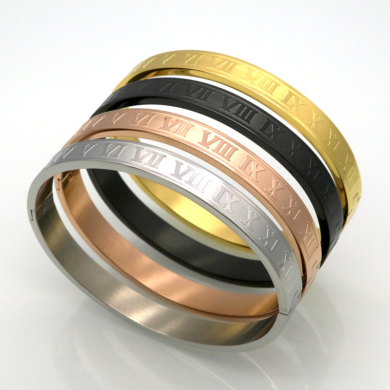 Vintage Jewelry Roman number Bangle bracelet Brand Luxury Women Men