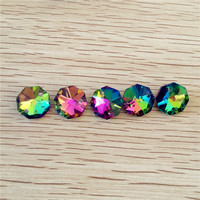 14mm Rainbow 6000pcs Crystal Octagon Bead, K9 2 Holes, Diy Wedding & Home Decoration, Crystal Accessories Chandelier Parts