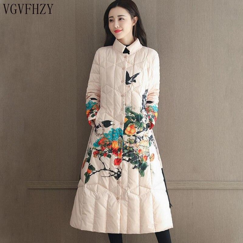 a8f78b53 Invierno de 2018 las nuevas mujeres, abrigos de mujer blanco pato abajo  chaqueta damas impreso Collar de abrigo largo abrigo Plus tamaño