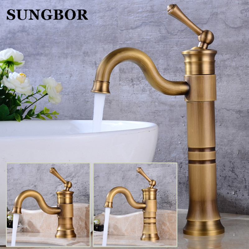 Art Antique Bathroom Faucet Copper Brass Bronze Basin Faucet Sink Rotate Single handle Single Hole Hot And Cold Vintage AL-7159F free shipping bathroom basin faucet with single handle single hole antique brass oil rubbed bronze