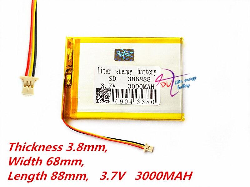 (3 Thread)Liter Energy Battery 386888 3.7V 3000MAH Universal Li-ion Battery For Tablet Pc 7 Inch 8 Inch 9inch