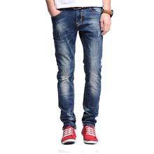 Зимние Джинсы Мужчин 2016 Новых Прибытия Мода Повседневная Slim Fit ноги Стрейч Длинные Брюки Высокое Качество Брюки джинсовые Кошка усов