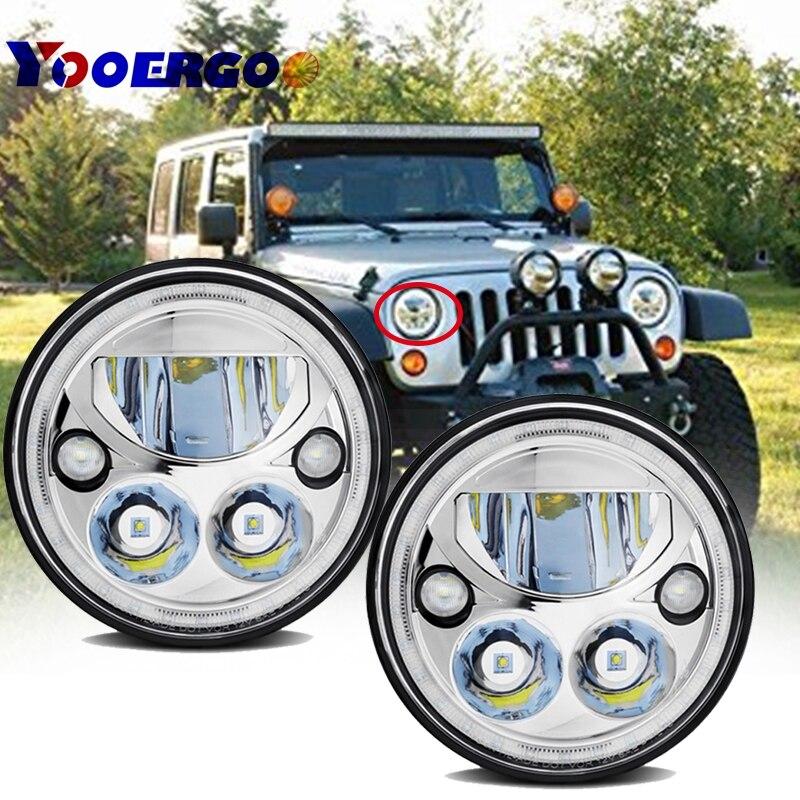 Пара X7 Море светодиодный фары для Jeep, точка Wrangler Jk TJ 7 круглый черный хром уже Halo проектор Headligh